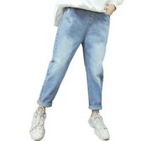 Spring Kids Jeans Girl Pantalons solides pour filles Mode Hole Automne Vêtements occasionnels 6 8 10 12 14 ans 210527