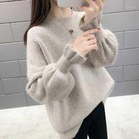 Qrwr 2020 осень зима корейских женщин свитер повседневная o шея сплошной вязаный пуловер свободный всплеск рукава элегантные свитера женские1