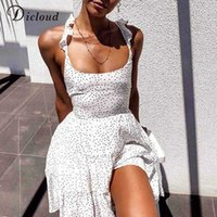 Dress Dicloud Polka Dot White Women of Summer Ruffle Backless Sexy Mini From Elegant Party Merletto Up Women's Beach Clothes