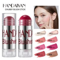 Handaiyan Chubby Blush Stick Cream Highlight Contour Moisturizing Smooth Rouge Pencil Long-lasting Natural Easy to Wear 8 Different Color Makeup Blushes