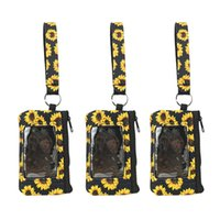 Printed Sunflower Leopard Cow Flower MultiFunction Neoprene Passport Cover ID Card Holder Wristlets Clutch Coin Wallet With Keychain DDA5389