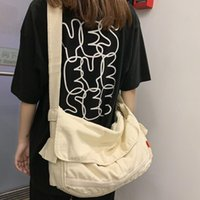 Evening Bags Vintage Canvas Shoulder Bag Women 2021 Casual Big School Crossbody Female High Quality Travel Hand Solid Simple Handbags