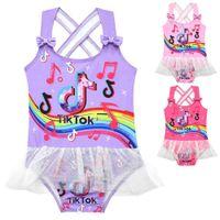 Yaz Criss Cross Geri Mayo Tek Parça Çocuk Kız Mayo Tiktok Mesh Patchwork Bikini Tik Tok Yay Dekor Yüzme Giyim Elbise Prenses Etek G4yrmmb