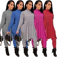 Plaid Pattern Womens Two Piece Pants Long Sleeve Turtle Neck Split T Shirts +Slim Pencil Trousers Fashion Elegant Women 2pcs Outfit Clothes