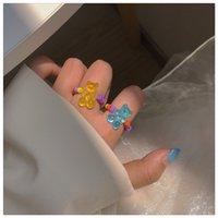 Süßigkeiten farbe transparent bär ring handgefertigte reis perlen kleine frische süße stretch lebensmittel finger ring weiblich
