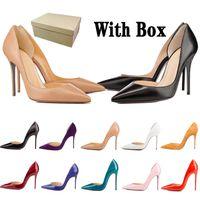 여성용 레드 하이 블발 LuxURYS 디자이너 신발 뾰족한 발가락 특허 Shiny 가죽 펌프 레이디 웨딩 샌들 8.5cm 10cm 12cm 힐