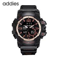 Addies Esporte Digital Relógio Digital Exposição Dual Moda Vermelho Ouro Cronógrafo Eletrônico À Prova D 'Água 3ATM Luz Fria Casual relógios de pulso