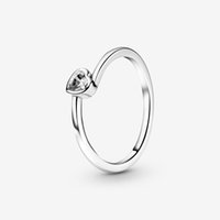 100% 925 Sterling Silver Clear Tilted Heart Solitaire Rings Fashion Women Wedding Engagement Jewelry Accessories