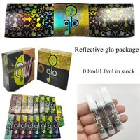 GLO Carts 0.8ml 1ml Ceramic Glass Atomizer Reflective Vape Cartridges Packaging 510 Thread empty e cig pens Disposable 2.0mm Thick Oil Holes Vaporizer
