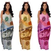 Dolar Spagetti Kayışı Elbise Kadınlar Için Kolsuz V Boyun Seksi Gevşek Femme Robe Rahat Baskılı Bayan Elbiseler