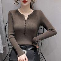 Women's Sweaters 2021 Autumn Korean Women Sweater Irregular Neck Buttons Long Sleeve Pullover Viscose Knitting Sliming Based Top Good Qualit