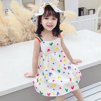 Girls Heart Print Braces Dresses Summer Kids Boutique Clothing Korean 1-6T Children Sleeveless Cotton Sun Dress Send Hat
