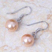 Dangle & Chandelier Love Monologue Lovely Champagne Pink Small Round Beads Silver Color Drop Earrings For Women Jewelry KE313