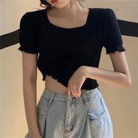 Women's T-Shirt 2021 Summer Women Square Collar Ruffles Knitting Fashion Short Solid Sleeve T-shirts Tops
