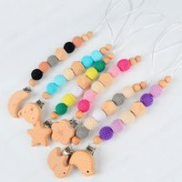 Baby Pacifier Holders Clips Chain Cartoon Animal Wood Crochet Beads Soother Nipple Teether Dummy Strap
