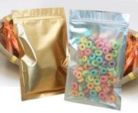 200 pcs Limpar Folha De Alumínio Plástico Saco De Embalagem De Embalagem Do Zíper Do Ouro De Retorno De Alimentos Secos Para Zip Poly Bolsas Reseal Bloqueio Mylar Silver Sacos