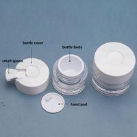 30G 50G Gesichtscreme Glas Weiße Deckel mit Löffel Eye Serum Flaschen Reisen Unterverpackung Kosmetische Flasche OWF5795