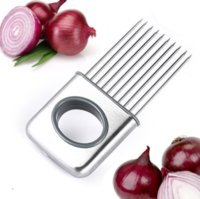 Easy Onion Holder Slicer Vegetable tools Tomato Cutter Stainless Steel Kitchen Gadgets No More Stinky Hands ju0744