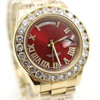 Gold Luxus Watche Marke Red Präsident Tag Date Big Diamonds Rolle Uhr Männer Edelstahl Diamant Lünette Automatische Herren Reloj Armbanduhren