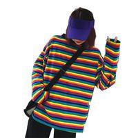 Women Rainbow Stripe T Shirt Autumn Female Round Neck Long Sleeve Plus Size Tshirts For Wild Women's T-Shirt