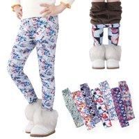 Kids Leggings Wholesale Winter Printing Thick Warm Skinny Pants Girls Plus Velvet Thermal Children Tights M3864
