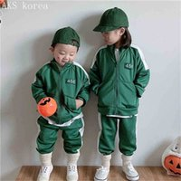 Korean TV squid game tracksuit unisex kids green hoodie jacket coat tops and pants two piece outfits children's fleece lined sportswear winter suit G052QPT