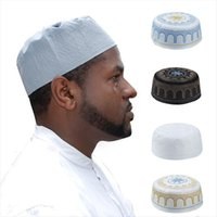 Muslim Mens Broderi Bön Hatt Islamic Kufi Cap Eid Ramadan Habibs Caps Mannen Arabian Beanie Skull Hattar