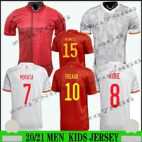 2021 유럽 컵 Espana 팬 및 Morata Koke 축구 유니폼 2022 Rodrigo Asensio Alcace Shirt 20 21 ISCO Ramos Salabianm Man Kids Kit Football