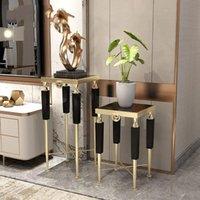 Modern Yan Masa Lüks Kanepe Köşe Mermer Dekor Süsler Oturma Odası Kapalı Yer Metal Paslanmaz Çelik Çiçek Diğer Ev Standı