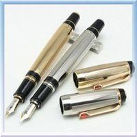 جودة عالية بوهيميا مونتي الفضة / الذهب نافورة القلم المعدنية القلم مع gemstone14 k nib مكتب المدرسة القرطاسية حبر الكلاسيكية