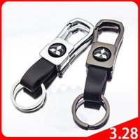 High Quality Metal Leather Creative Logo Keychain Car Accessories Suitable For Mitsubishi- Outlander LANCER ECLIPSE Mirage L200 Keychains