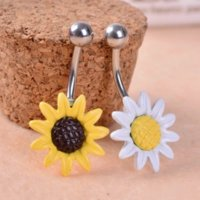 Gofuly New Brand Sunflowers Flowers Surgical Steel Belly Bottone Anelli Body Piercing dell'ombelico Best