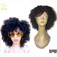 Parrucca di capelli umani pieni pieni di pizzo ricci afro afro afro con Bangs Mongolian Kinky Capelli ricci parrucca anteriore del pizzo corta Bob