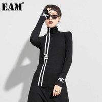 [EAM] Женщины черная белая линия письма печати темперамент футболки Turtleneck с длинным рукавом мода весна осень 1dd0426 210618
