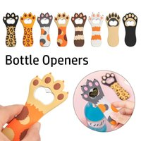 Silicone Cat Claw Design Soda Beer Bottle Cap Opener Multifunction Cartoon Fridge Magnet Kitchen Bar Tools