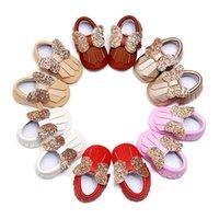 신생아 아기 소년 소녀 술 신발 유아 스팽글 활 최초의 워커 부드러운 바닥 Tassel 유아 신발 12 색
