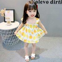 공주 드레스 레몬 프린트 Strapless Suspender 소녀 여름 드레스 어린이 드레스 어린이 옷 짧은 어린이 치마 귀여운 소녀 G8623LZ