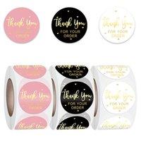 GRAZIE GRAZIE PER IL TUO ORDINE Sticker Adesivo Busta Etichette di sigillatura 500pcs 1 pollice nero rosa trasparente 122841