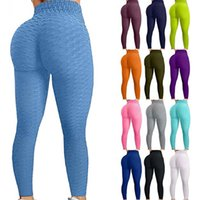Famoso Tiktok Leggings Calças de Yoga para Mulheres Cintura Alta Bonqueira Controle Bolha Bolha Bubble Hip Treino Running Treets