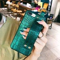Llano con estuche de correa de muñeca para iPhone11 Pro Max Funda de cuero cubierta de espalda dura Coque para iPhone 8 Plus 6S 6 7 Plus x XR Fundas Capa