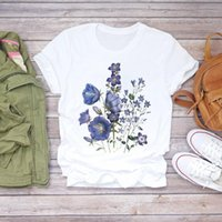 Women's T-Shirt Women Flower Lady Female Ladies Womens Tee Aesthetic Painting Clothes Summer Shirt T-shirts Top T Graphic
