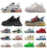 2021 Sneakers di moda Sleakers Suola Sole Triple S Casual Dad Shoes Uomo Donna Piattaforma 17FW Paris Vintage Old Crystal Bottom Triple-S Designer Sport