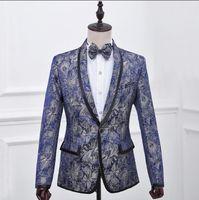 Singer Dance Stage Slim Clothing For Men Print Suit Set With Pants Mens Wedding Suits Costume Groom Formal Dress Tie England Men's & Blazers