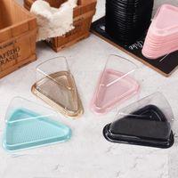 Casas de torta de triángulo transparente Caja de queso Mousse Postre de plástico Embalaje Contenedor Negro Oro Panadera Panadería Boxes de embalaje DWA4548