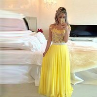 Vestidos De Fiesta Illusion Yellow Chiffon A Line Prom Dresses For Women Formal Evening Gowns Appliques Robe 2021