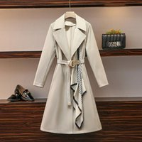 Women's Trench Coats 2021 Autumn Elegant Turn Down Collar Long Sleeves Fashion Outwear With Belt Ladies Female Coat A4213