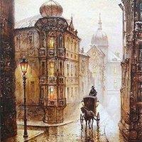Impresión HD-Pintado a mano Hermosa ciudad Europa Paisaje Arte Pintura al óleo sobre lienzo Home Deco Multi Tamaños L222 200315