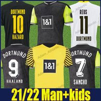 Dortmund Soccer Jerseys 2021 Retro 90s مستوحاة من قميص خاص Reus Sancho Haaland Football Jersey Hummels Brandt Hazard Men Kids Kit 110th Inniversary Edition Top