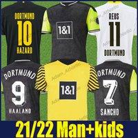 Dortmund 축구 유니폼 2021 레트로 90S 특별 셔츠 Reus Sancho Haaland 축구 유니폼 Hummels Brandt 위험 남성 키트 110 주년 기념 버전 탑