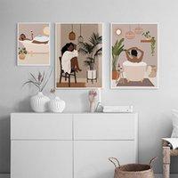 그림 추상 미술 소녀 꽃 녹색 식물 홈 입욕 캔버스 그림 북유럽 포스터와 인쇄 벽 사진 거실 장식